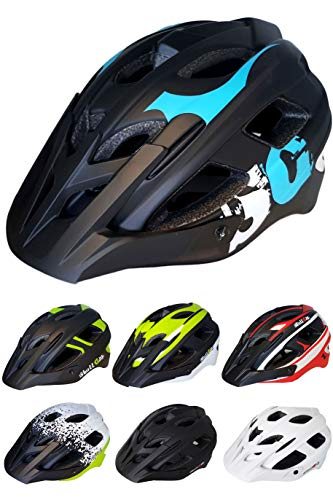 Skullcap Fahrradhelm  MTB Helm  Mountainbike Helm  Herren & Damen  Schwarz/Neon-Grün matt  Visier/Helmschild (Blue-Black-White, L)