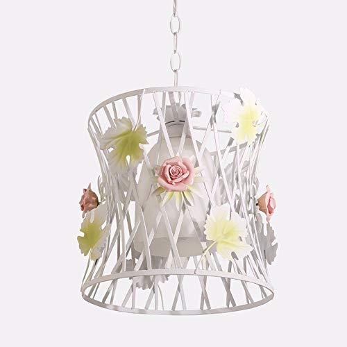 ZYY * Pendelleuchte Kronleuchter Vintage Shabby Das Wohnzimmer Esszimmer Schlafzimmer Korean Art Garten Iron Art Floral Licht Runde Lampen, ohne Lichtquelle 55 * 19cm -