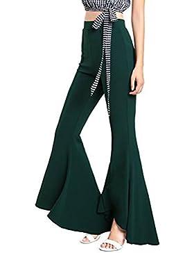 Kootk Pantalones Bootcut Mujer Pantalones Acampanados Pantalones Marlene de Cintura Alta Pantalones Casuales Desgaste...