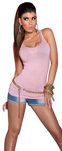 Koucla bretelles-top pour femme avec strass doré chaîne & taille unique (32–38) Rose - Rose