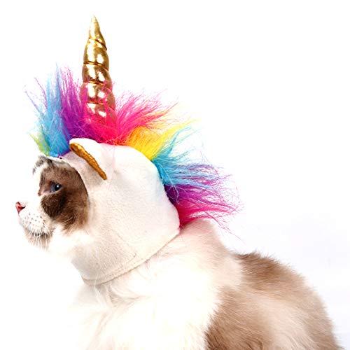 Hotumn Halloween Festival Einhorn Hat Cosplay Mähne Gap Pet Katzen Kleine Hunde, weiß