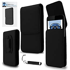 iTALKonline Xiaomi MI4S Black PREMIUM PU Leather Vertical Executive Side Pouch Case Cover Holster with Belt Loop Clip and Magnetic Closure and Re-Tractable Captive Touch Tip Stylus Pen with Rubber Tip