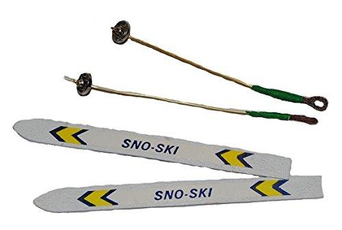Preisvergleich Produktbild 2 Ski / Skier mit 2 Stöcken - Miniatur - Maßstab 1/12 - Skistöcke Sport Wintersport - für Puppenstube + Puppenhaus / Geldgeschenk - Skiurlaub Winter