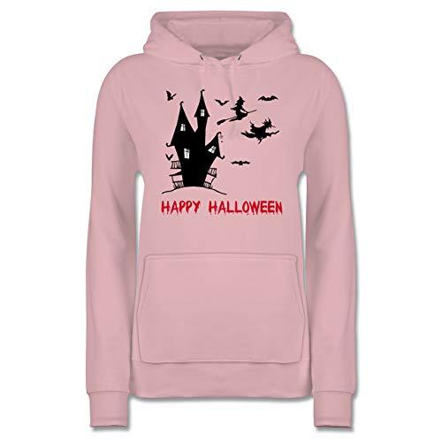 Shirtracer Halloween - Happy Halloween Hexen Haus - XL - Hellrosa - JH001F - Damen Hoodie