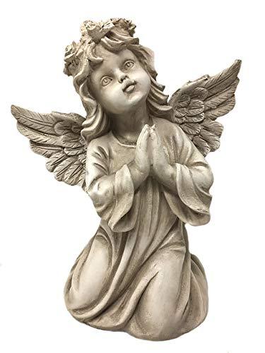 Unbekannt Engel mit Rosenkranz auf dem Kopf, kniend - Beige, Frostfest, Höhe ca. 30,00 cm