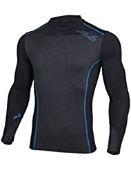 Sub Sports Mens Thermal Long Sleeve Mock Turtleneck Top, Brushed Fleece Inner for Warmth, Base Layer Vest , Moisture Wicking, Semi Compression Fit, Available in 6 Colours