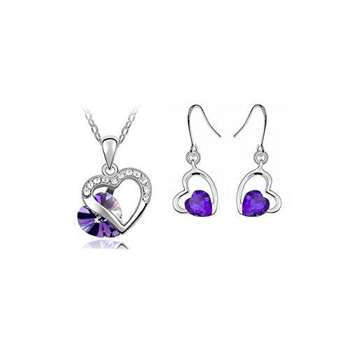 Parure coeur cristal swarovski elements plaqué or blanc Violet