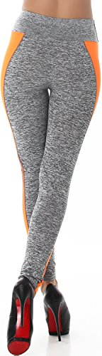 Power Flower Damen Fitness-Leggings lang Sporthose Hoher Bund Freizeit Sport Workout Yoga Gymnastik Farbstreifen (32/34/3638) Hellgrau-Neonorange