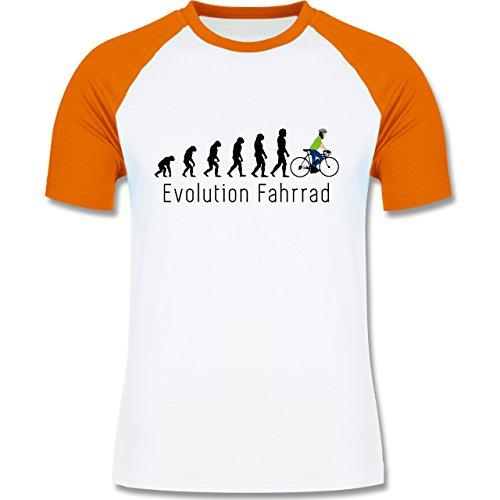Evolution - Fahrrad Evolution - zweifarbiges Baseballshirt für Männer Weiß/Orange