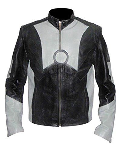 classyak Herren Fashion Eisen schwarz N grau Leder Jacke Sheep Black