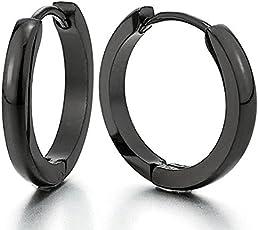 Classic Black Plain Thin Cambered Huggie Hoop Ear Lobe Earrings stud for Men & Women - 20MM