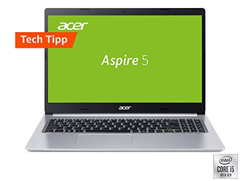 Acer Aspire 5 (A515-54G-56XE) 39,6 cm (15,6 Zoll Full-HD IPS matt) Multimedia Laptop (Intel Core i5-10210U, 8 GB RAM, 512 GB PCIe SSD, NVIDIA GeForce MX250, Win 10 Home) silber
