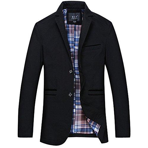 GWELL Herren Blazer Freizeit Sakko Casual Anzugjacke Business Regular Fit Schwarz, EU XL (Herstellergröße: 4XL)