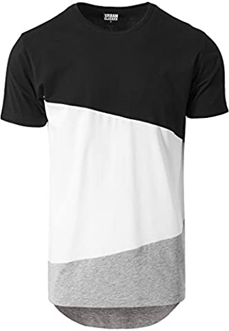 URBAN CLASSICS - Long Shaped Zig Zag Tee (black/white/grey), Gr.