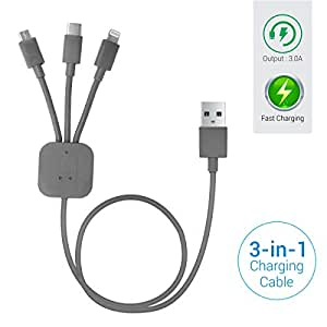 Portronics POR-013 Konnect-Trio 3-in-1 Multi-Functional Cable (Grey)