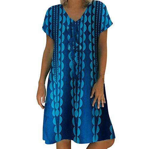 Longra-vestiti estivi donna taglie forti estate vestiti casual eleganti corti manica corta v-collo cotone e lino t-shirt lunga manica corta vestiti camicia donna mini abito gonne (s, 6# blu)
