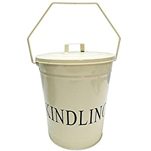 Home Discount® Kindling Wood Metal Bucket With Lid, Cream