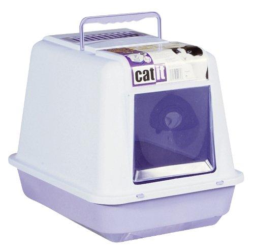 Catit 50932, Caja de Arena para Gato con TechoMoteado Color Celeste/Lila.