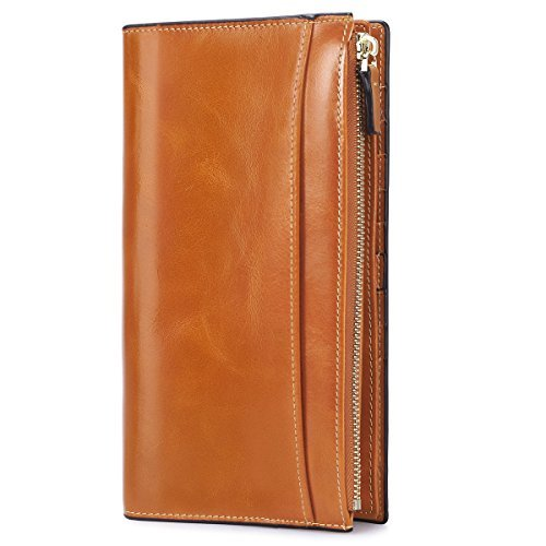 7cd7ea9ef6dd9 S-ZONE Women s Soft Genuine Leather Trifold Long Wallet Ultra-Thin Design  Slim Large