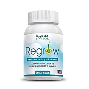 Vokin Biotech Regrow - All Natural Hair Loss Supplement For Advanced Healthy Hair Growth(Men & Women) - 60 Veg Capsules