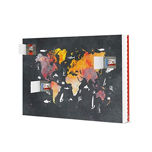 artboxONE Adventskalender XXL mit Produkten von Kinder® Weltkarte 44 surfen und fischen Adventskalender Reise