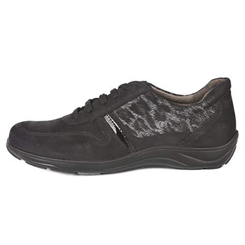 Zapatos Mujer para Plantillas extraibles Color Negro de Piel Ancho Especial con Cierre Cordones para pies delicados Piel Zapatilla Plantillas ortopedicas (39 EU)