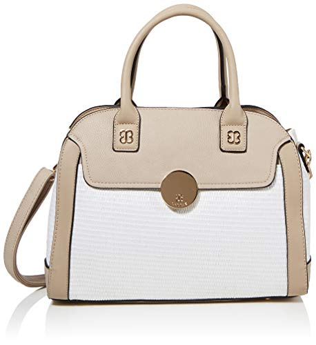 Bessie London Damen Woven Bag With Gold Circle Clip Tote, Weiß (White), 12x27x36 Centimeters