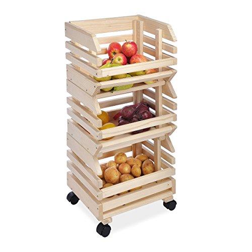Kartoffelhorde Obsthorde Stapelhorde Kartoffelkiste aus massivem Holz mit 4 Rollen