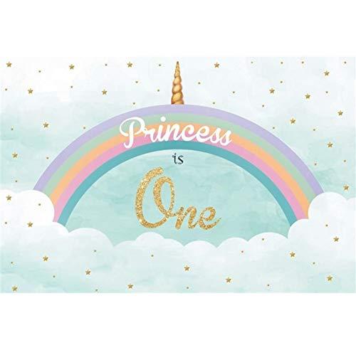 yester Einhorn Fotohintergrund Prinzessin ist eine Banner Regenbogen Goldsterne Wolken Blauer Himmel Fotoleinwand Hintergrund für Fotostudio Requisiten Party Baby Photo Booth ()