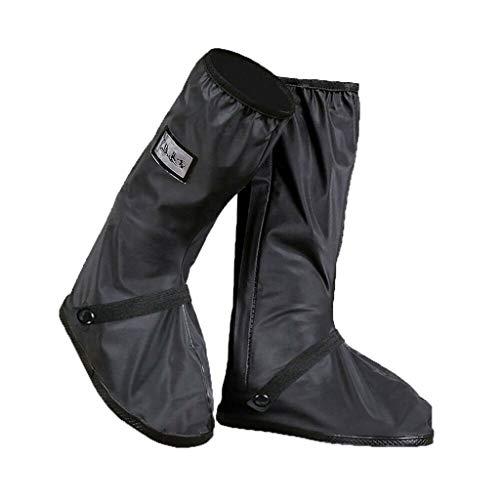 feiXIANG Regenstiefel Motorrad Regentag Stiefel Regenbekleidung für Herren und Damen Regenüberschuhe Wasserdicht Outdoor Überschuhe (Schwarz,L=42-43)