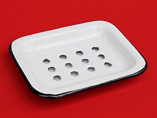 DanDiBo Seifenhalter 617A Weiß Seifenschale 13 cm emailliert Landhaus Emaille Seifenspen