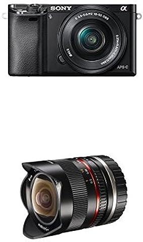 Sony Alpha 6000 Systemkamera inkl. SEL-P1650 Objektiv schwarz + Walimex Pro 8mm 1:2,8 Fish-Eye II