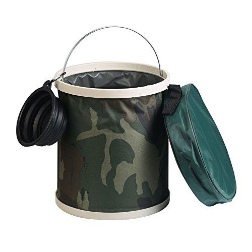 Cubo plegable,MEZOOM Cubo de agua plegable con bolsa de almacenamiento con cremallera y cuenco plegable para la pesca Acampar