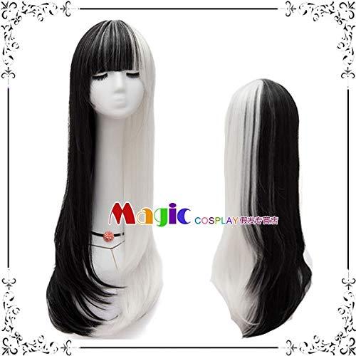 Perücken täglich schwarz Puder grau weiß gold rot doppelt lange glatte Haare Hali Kui Yin Clown weibliche COS Perücke, schwarz und weiß farblich passend zu LW1673, Einheitsgröße