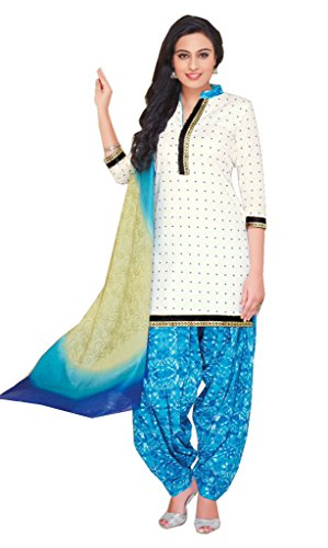 AASRI Women White Blue Party Wear Cotton Printed Unstitched Patiala Salwar Suit