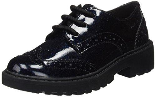 Geox J Casey K, Zapatos Cordones Brogue Niñas, Azul