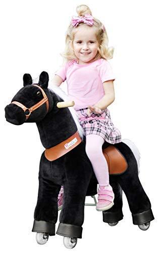 PonyCycle Black Beauty Pferd schwarz, Pony auf Rollen fahrendes Schaukelpferd und Kuscheltier für Ihr Kind von MyPony (Medium)