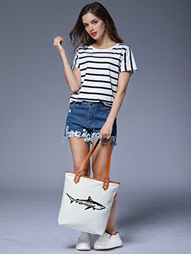 Animal Bag Ladies Shoulder Canvas S Womens Leather Tote Shark Weiß Handbag CHU wF7qvE
