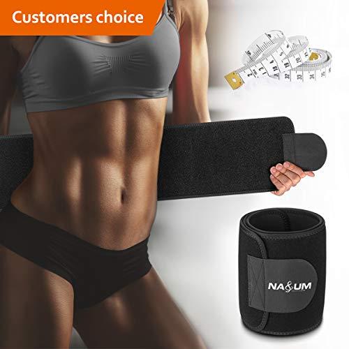 NASUM Bauchweggürtel Fitnessgürtel Schwitzgürtel zum Abnehmen und Muskelaufbau für Herren und Damen Verstellbarer Fitnessgürtel Trimmer Slimmerbelt