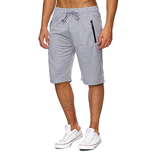 INCERUN Herren Sport Training Sweat Short Fitness Kurze Hose Jogging Shorts Hellgrau M (Training Tragen)