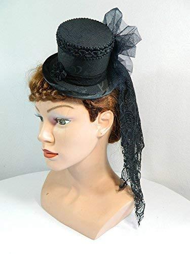 Mini Zylinder schwarz Damenhut Hut Fascinator Cocktail Hütchen Gothic Schleier Brauthut -