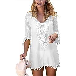Aleumdr Mujer Vestido Cover up Falda Casual Corta Vestido Elegante Cuello V Blanco Size L