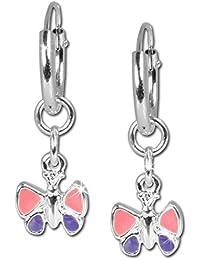 SilberDream SDO077 Boucles d'oreilles créoles avec papillons pour enfant en argent sterling 925