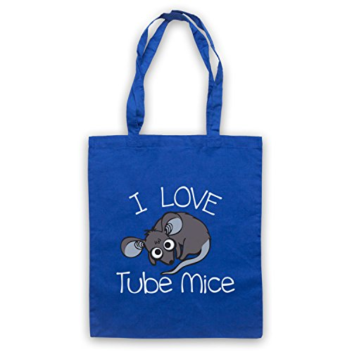 I Love Mouse-Borsa a tubo, motivo: aforismi [lingua inglese] Blu
