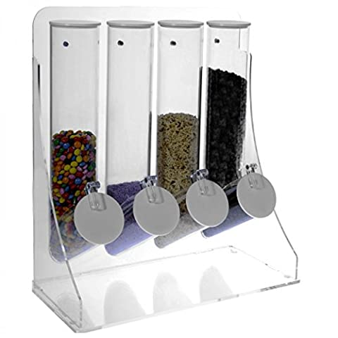 Coloured acrylic grain bin with 4 transparent tubular containers Dimensions: