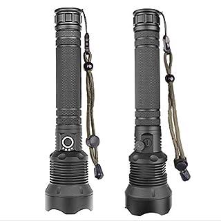 P12cheng LED-Taschenlampe, tragbar, wiederaufladbar, dimmbar, tragbar, Aluminiumlegierung, Schwarz, 30 W