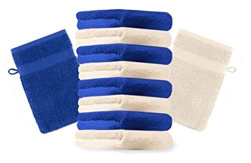 Betz Lot de 10 gants de toilette taille 16x21 cm 100% coton Premium couleur bleu royal, beige