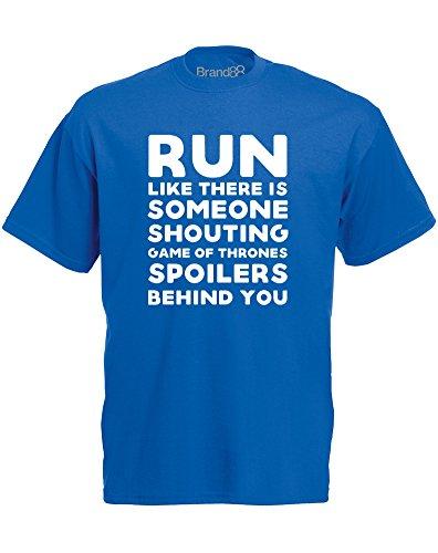 Brand88 - Shouting Game of Thrones Spoilers, Mann Gedruckt T-Shirt Königsblau/Weiß