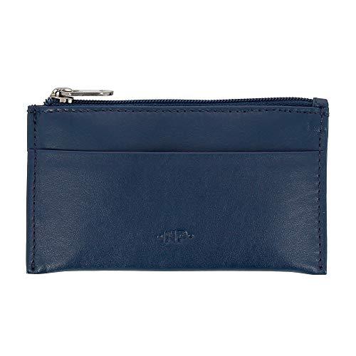 Nuvola Pelle Porte-clés et Porte-Monnaie en Cuir Nappa véritable Pochette étui avec Zip et 2 Anneaux pour Les clés Bleu