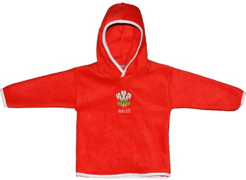 Baby Wales Rugby Fleece Long Sleeved Kids Junier Walesh Sports Top With Embroidered Chest Logo (0-3 Months, Red)